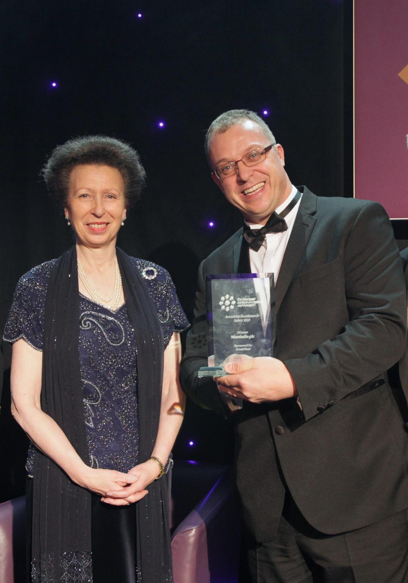 Guy Ripley accepting the award from Her Royal Highness Princess Anne