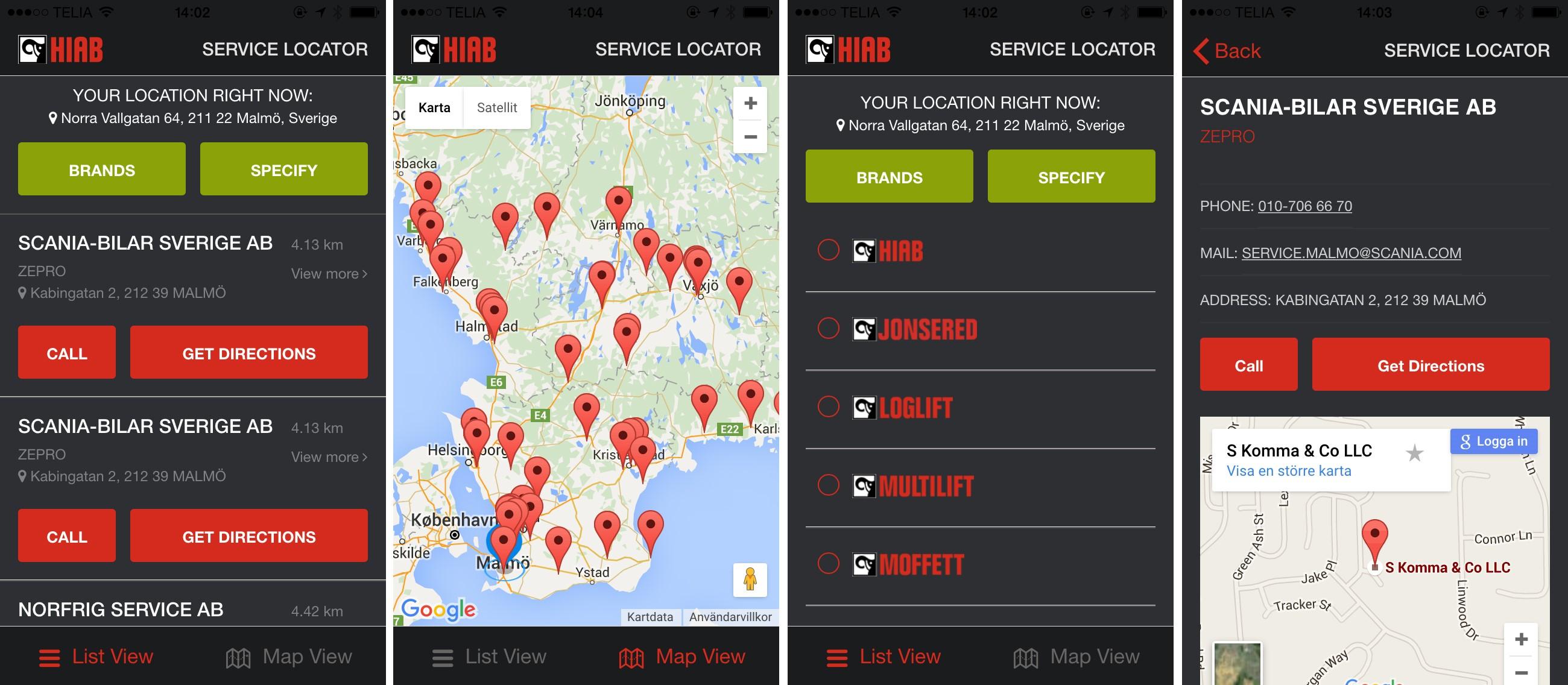 Hiab's Service Locator App