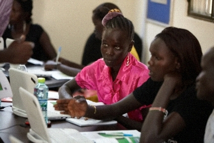 Students in ICT class in South Sudan