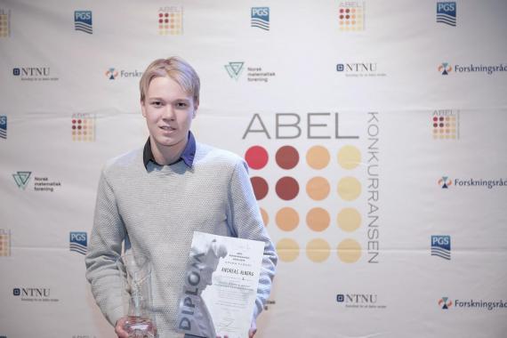 Foto av Andreas Alberg, vinner av Abelkonkurransen 2019.