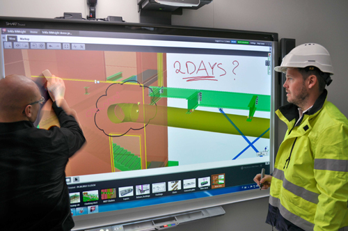 Tekla BIMsight in action on SMARTboard!