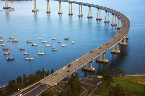 The Coronado Bay Bridge spanning San Diego Bay.