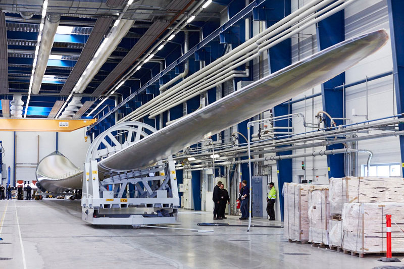 The first LM 88.4 P - the longest blade in the world in LM Wind Power Pilot Plant Lunderskov